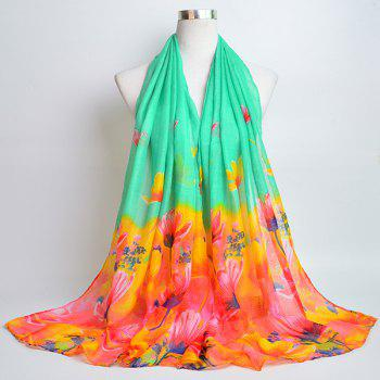 Flower Painting Printed Voile Wrap Scarf - MINT MINT