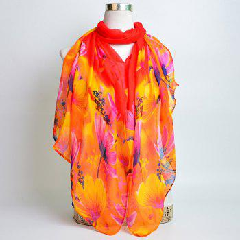 Flower Painting Printed Voile Wrap Scarf -  RED