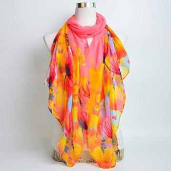 Flower Painting Printed Voile Wrap Scarf -  PINK