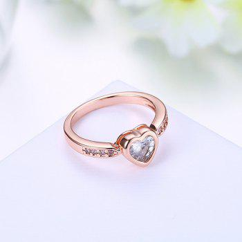 Rhinestones Heart Finger Ring - 6 6
