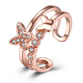 Rhinestones Butterfly Hollow Out Cuff Ring - ROSE GOLD ROSE GOLD