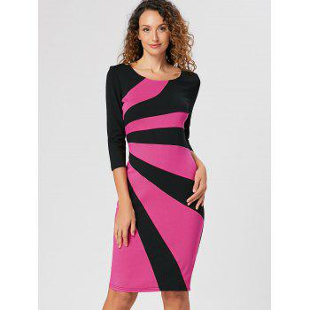 Color Block Work Bodycon Dress - PINK L