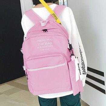2 Pieces Color Block Nylon Backpack Set - PINK