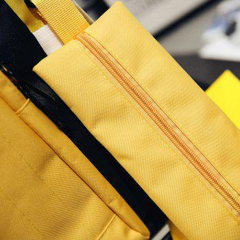 2 Pieces Color Block Nylon Backpack Set -  YELLOW