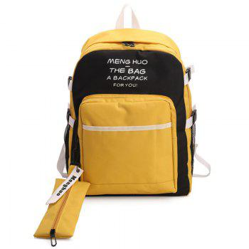 2 Pieces Color Block Nylon Backpack Set - YELLOW YELLOW