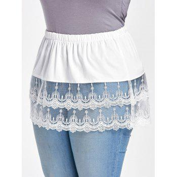 Plus Size Tiered Sheer Lace Extender Skirt - WHITE 3XL