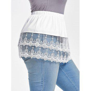 Plus Size Tiered Sheer Lace Extender Skirt - WHITE 5XL