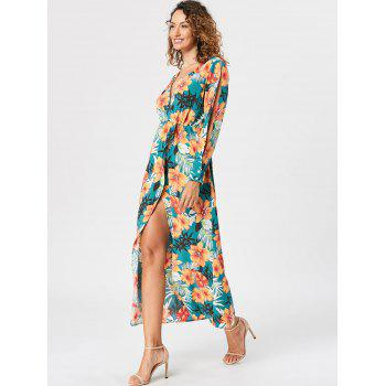 Slit Sleeve Overlap Maxi Surplice Dress - LAKE GREEN L