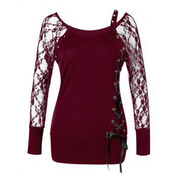 Raglan Sleeve Lace Up Top - WINE RED WINE RED