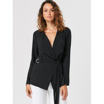 Waterfall Blazer with Tie Belt - BLACK BLACK