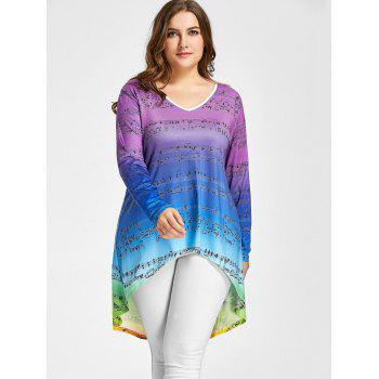 Plus Size Music Notes High Low Ombre Tee - COLORMIX XL
