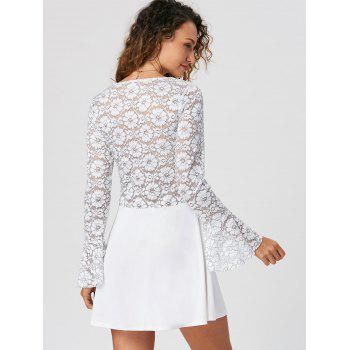 Lace Trim Flare Sleeve Mini Dress - WHITE S