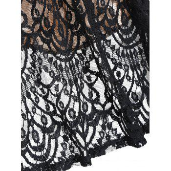 A Line Lace Long Sleeves Dress - BLACK BLACK