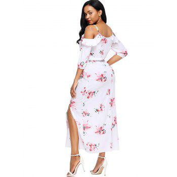 Open Shoulder Floral Slit Maxi Dress - WHITE S