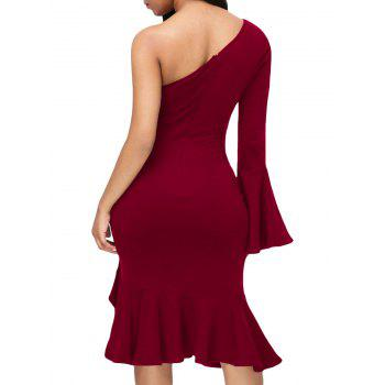 Twist Front One Shoulder Cocktail Dress - RED RED