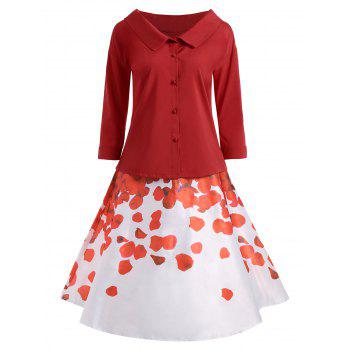 Button Up Blouse with Printed Skirt - RED RED