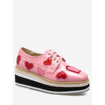 Heart Hollow Out Tie Up Wedge Shoes - PINK PINK