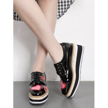 Heart Hollow Out Tie Up Wedge Shoes - BLACK BLACK
