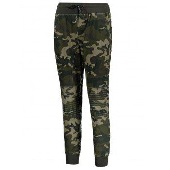 Camo Print Drawstring Jogger Pants - ARMY GREEN 3XL