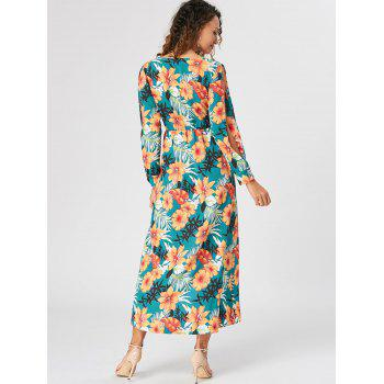 Slit Sleeve Overlap Maxi Surplice Dress - LAKE GREEN XL