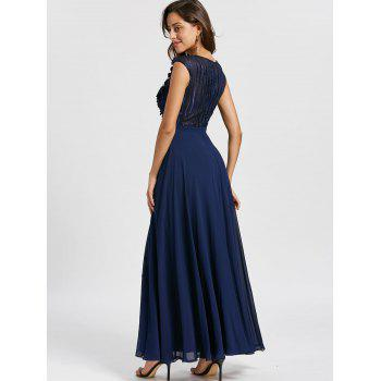 Floral Applique Sleeveless Evening Dress - PURPLISH BLUE 2XL