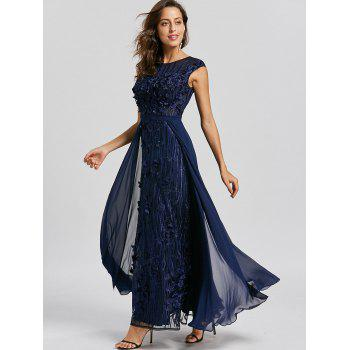 Floral Applique Sleeveless Evening Dress - PURPLISH BLUE XL