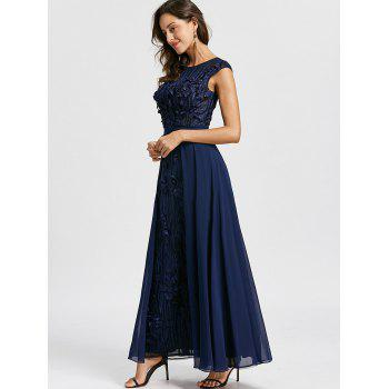 Floral Applique Sleeveless Evening Dress - PURPLISH BLUE L