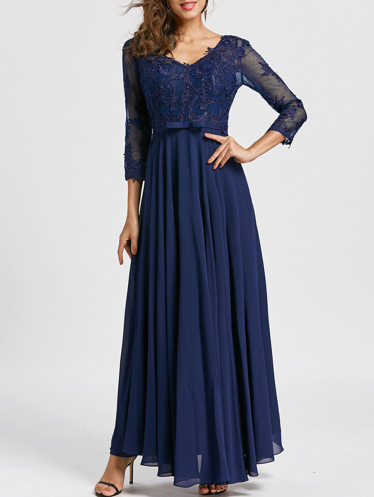 Bowknot V Neck Maxi Evening Dress - PURPLISH BLUE 2XL