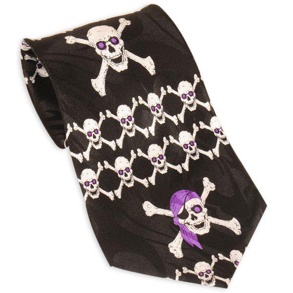 10CM Width Neck Tie with Pirate Skull Print - BLACK