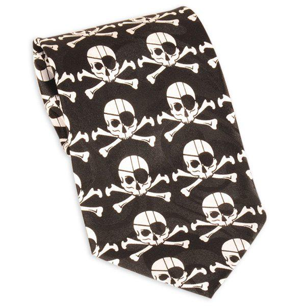 Pirate Skull imprimé 10CM Largeur cravate - Noir