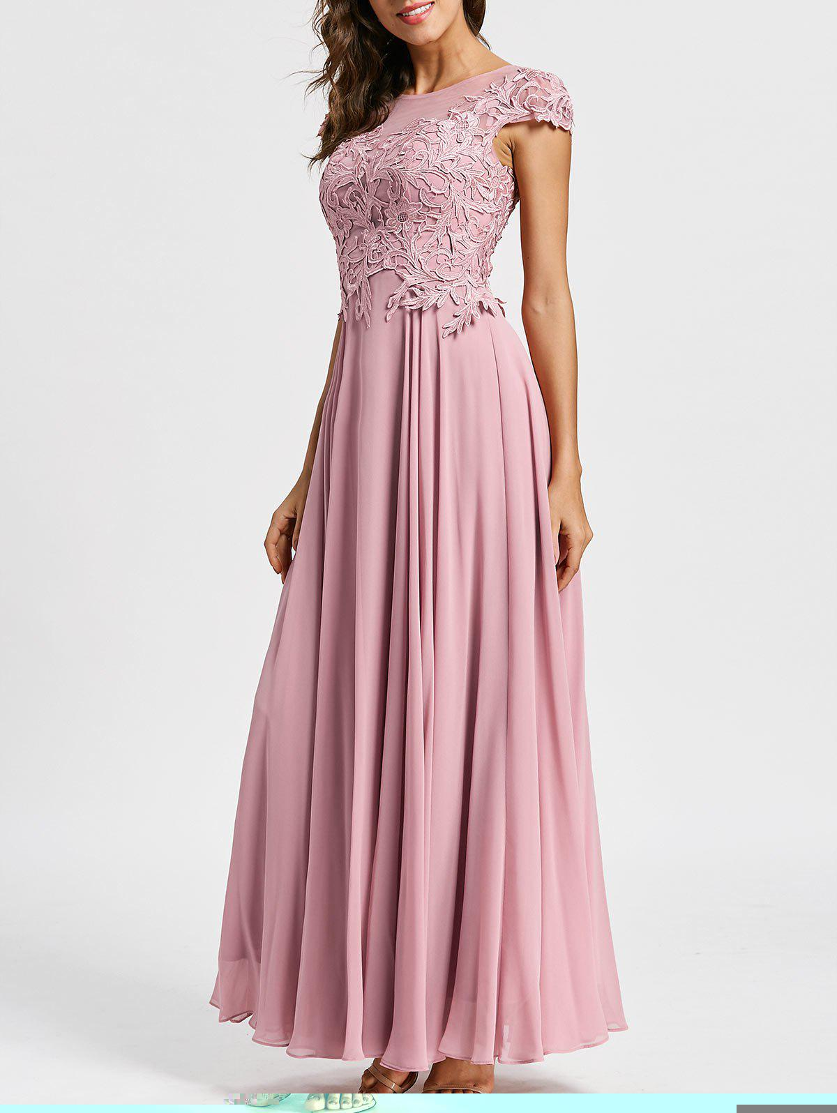 Floral Applique Maxi Formal Evening Dress - LIGHT PINK 2XL