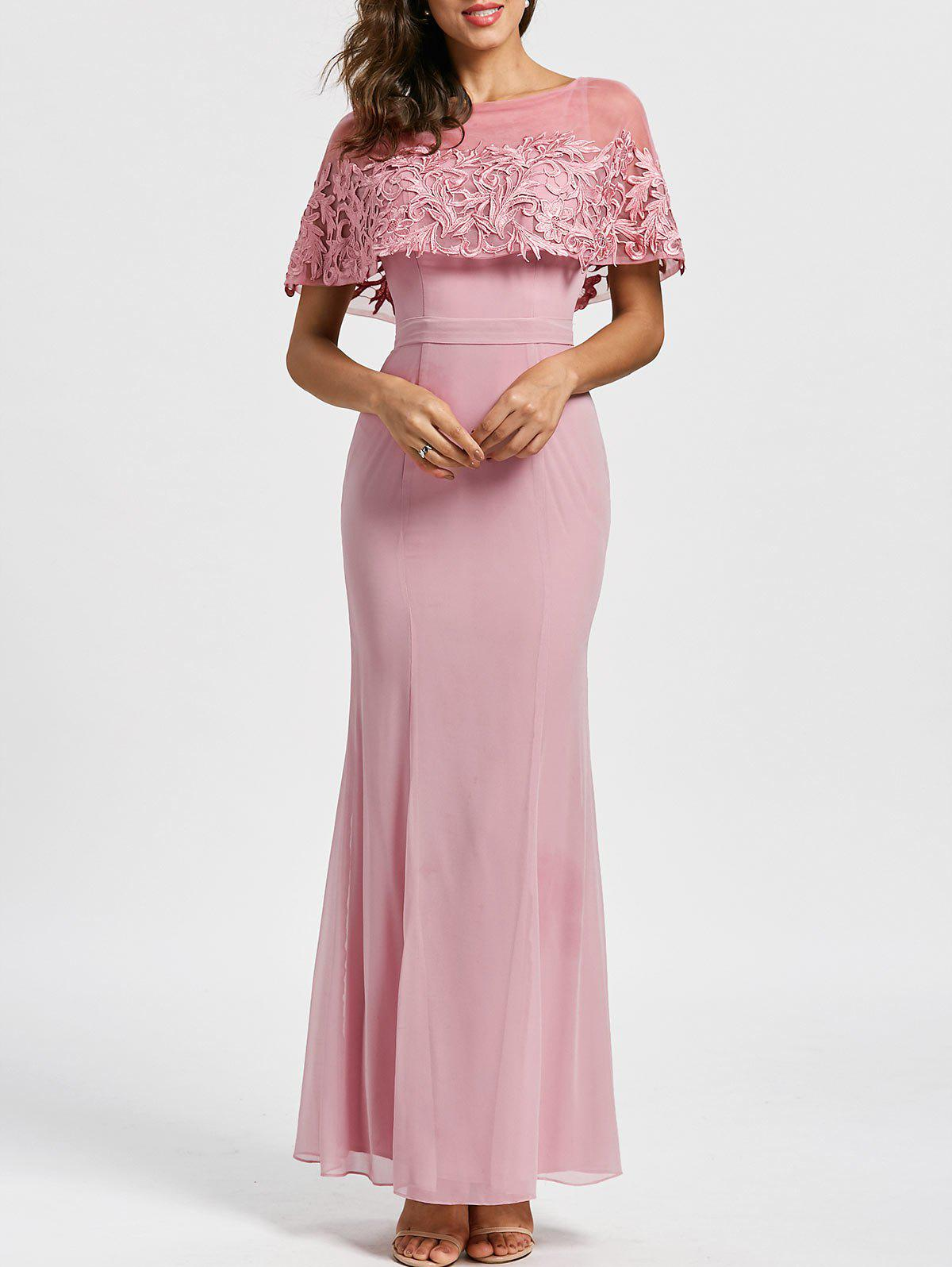 Caplet Floor Length Formal Evening Dress - LIGHT PINK L