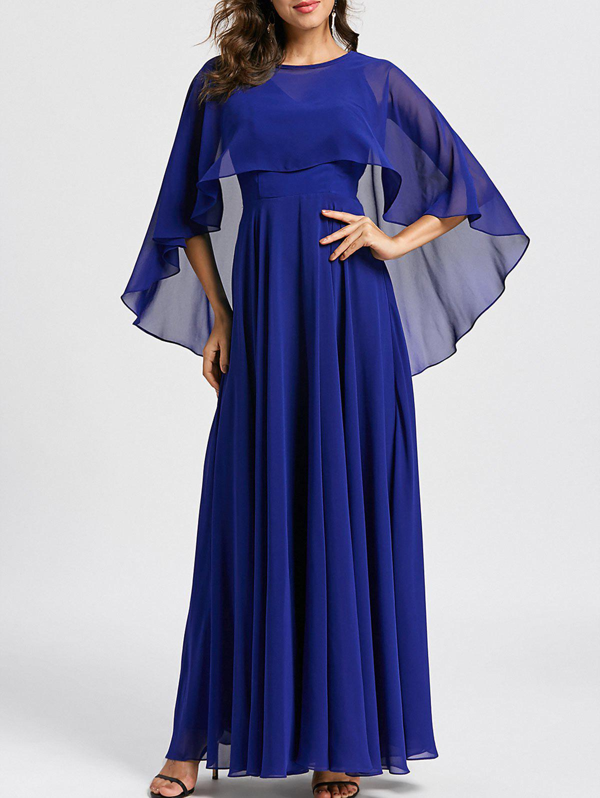 Caplet Maxi Evening Dress - BLUE 2XL