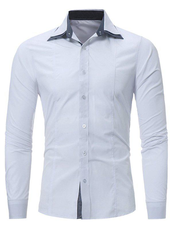 Elbow patch slim fit button down shirt white xl in for Slim fit white button down shirt
