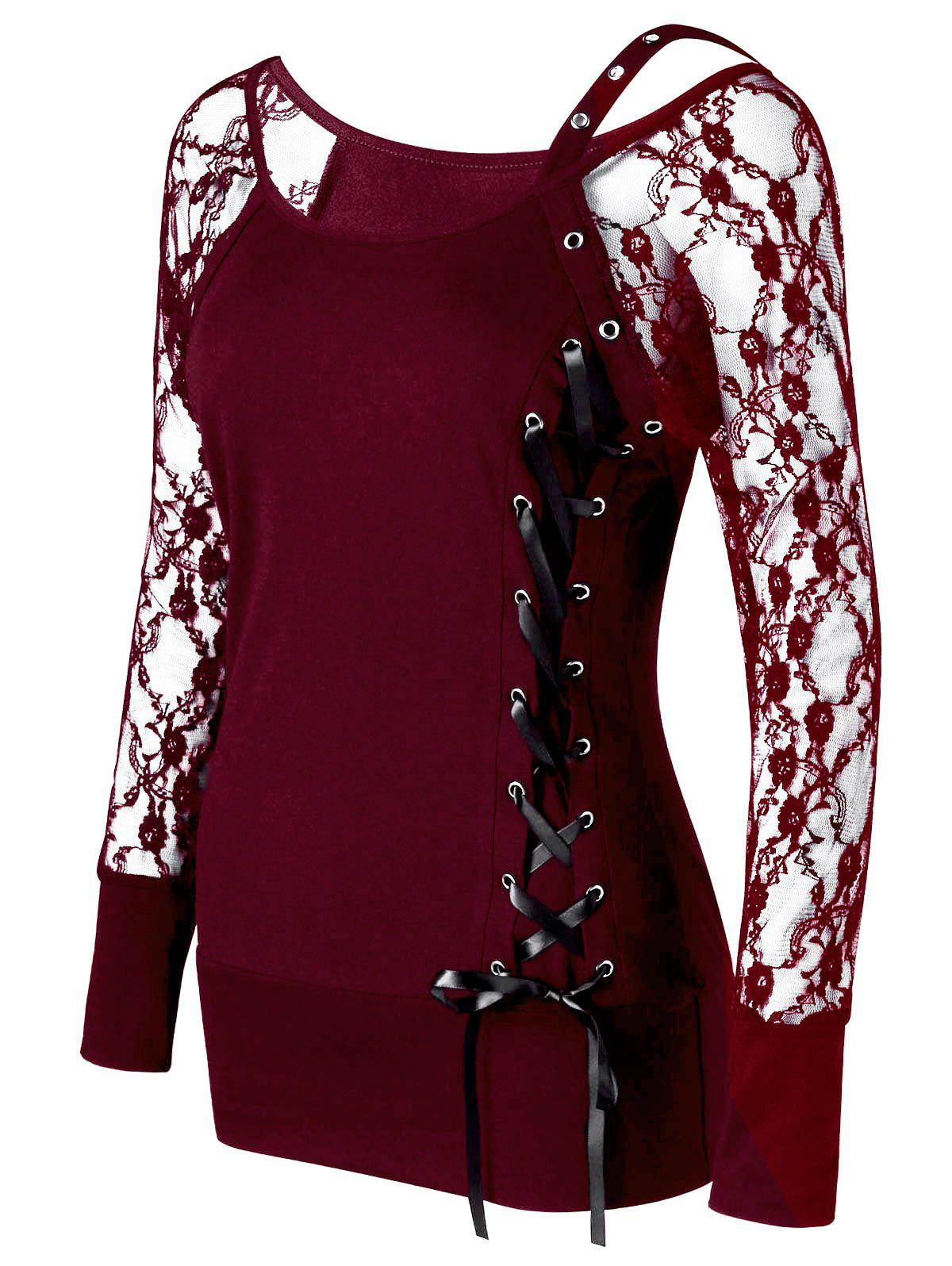 Raglan Sleeve Lace Up Top - WINE RED M