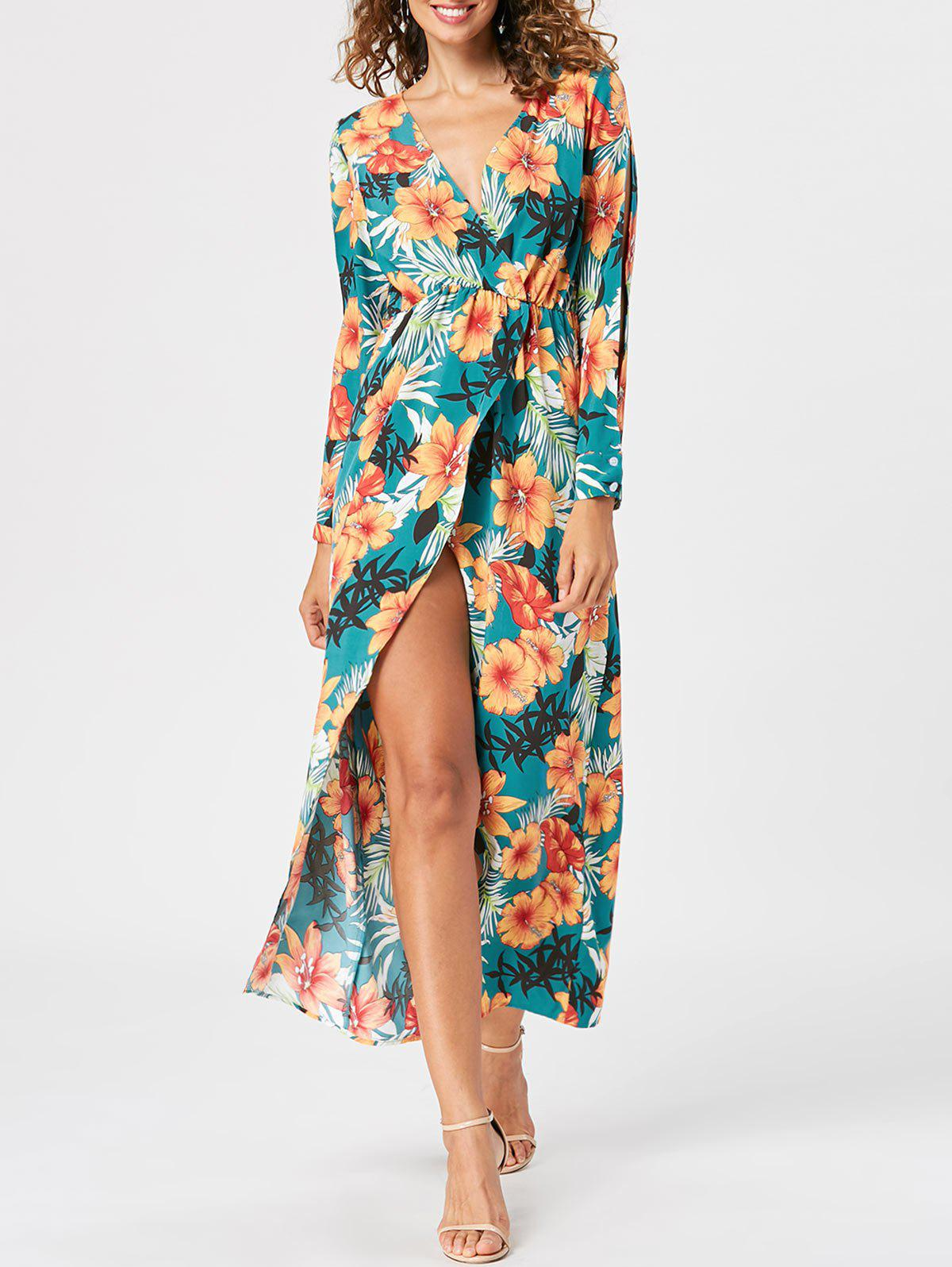 Slit Sleeve Overlap Maxi Surplice Dress - LAKE GREEN 2XL