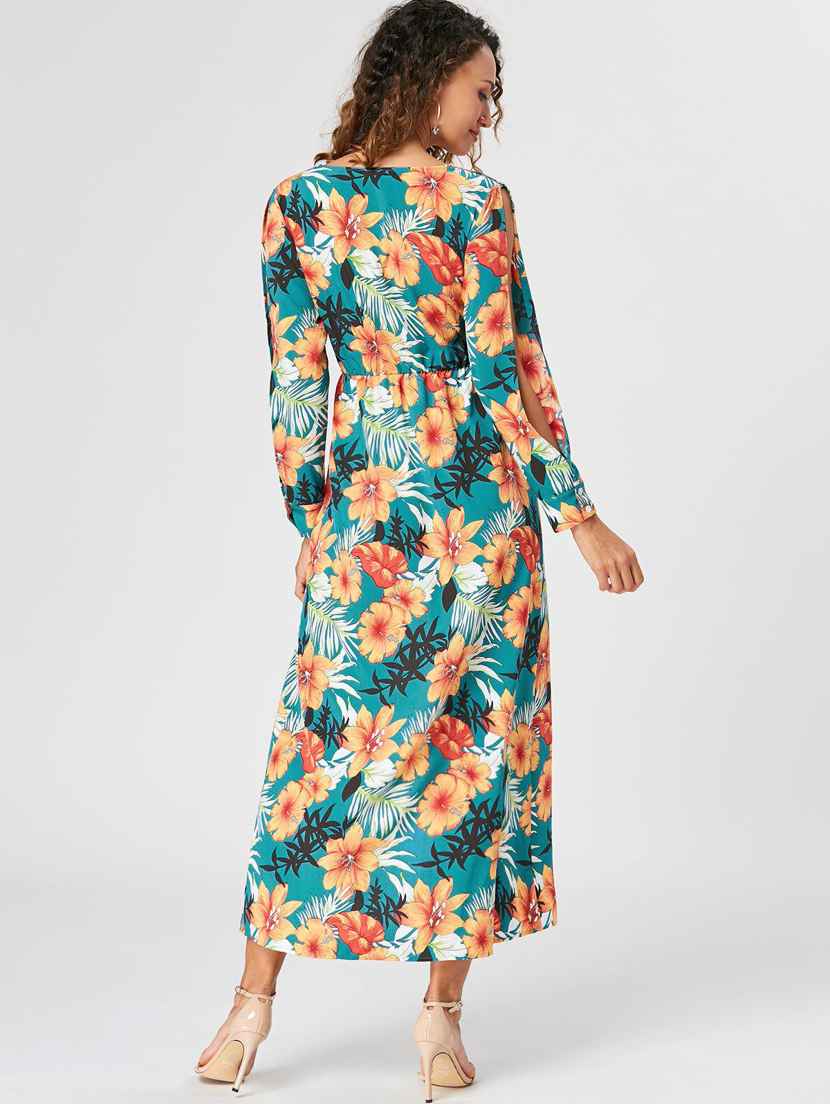 Slit Sleeve Overlap Maxi Surplice Dress - LAKE GREEN M
