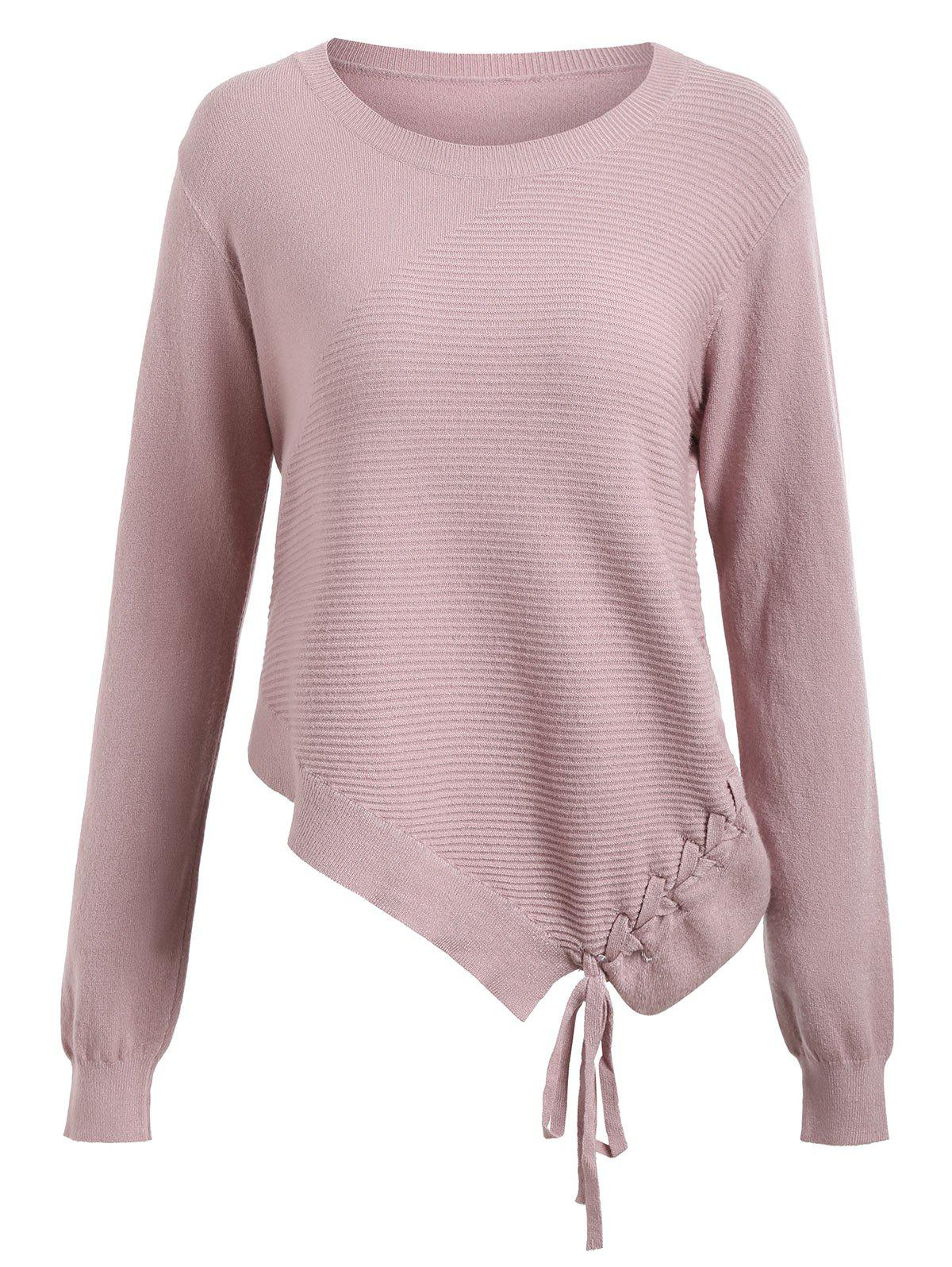 Asymmetric Lace-up Knitted Sweater - PINK ONE SIZE