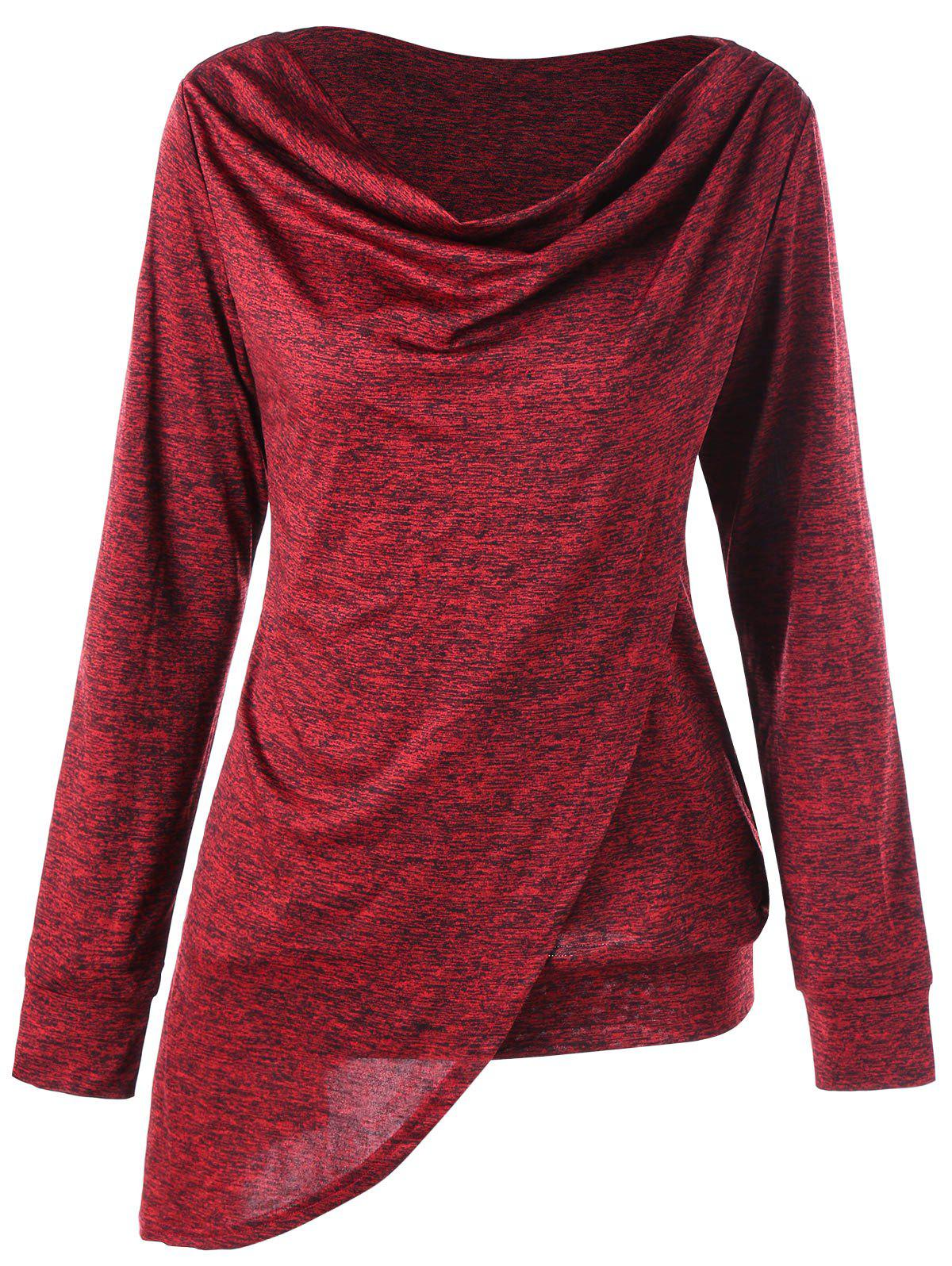 Marled Cowl Neck Overlap Asymmetric Sweatshirt - RED 2XL