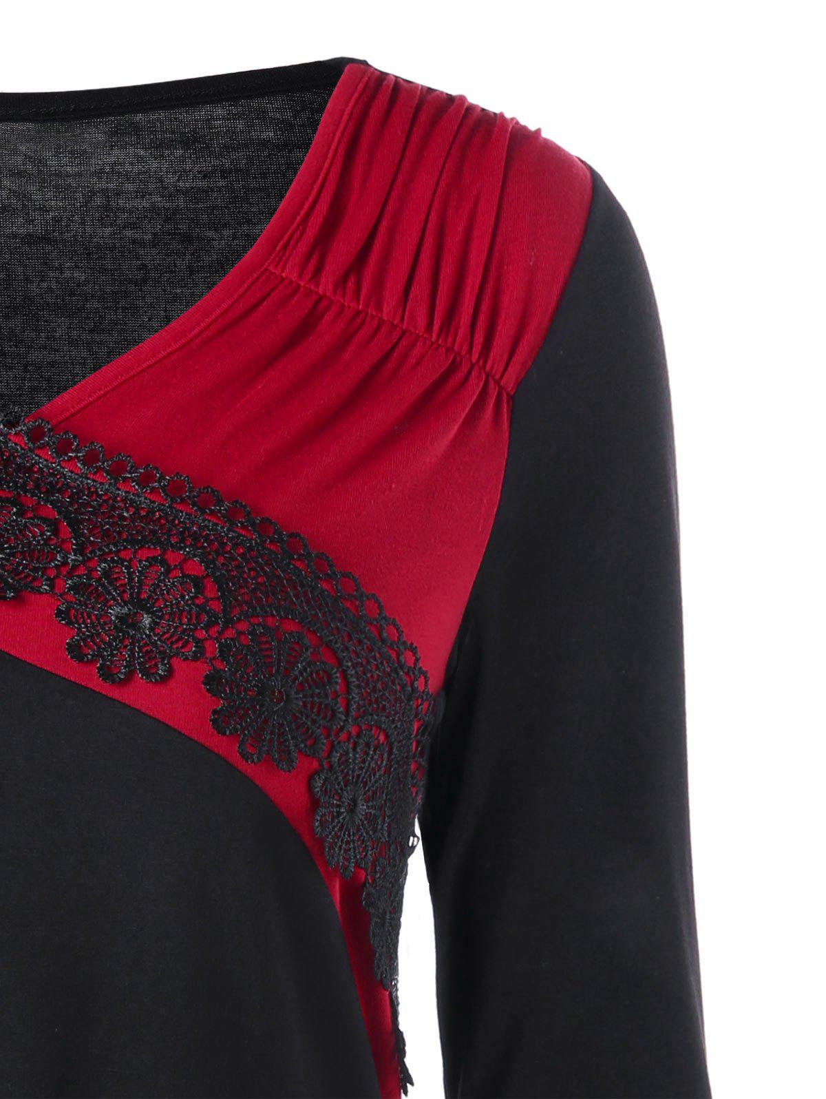 Two Tone Lace Trim Asymmetric Top - RED XL