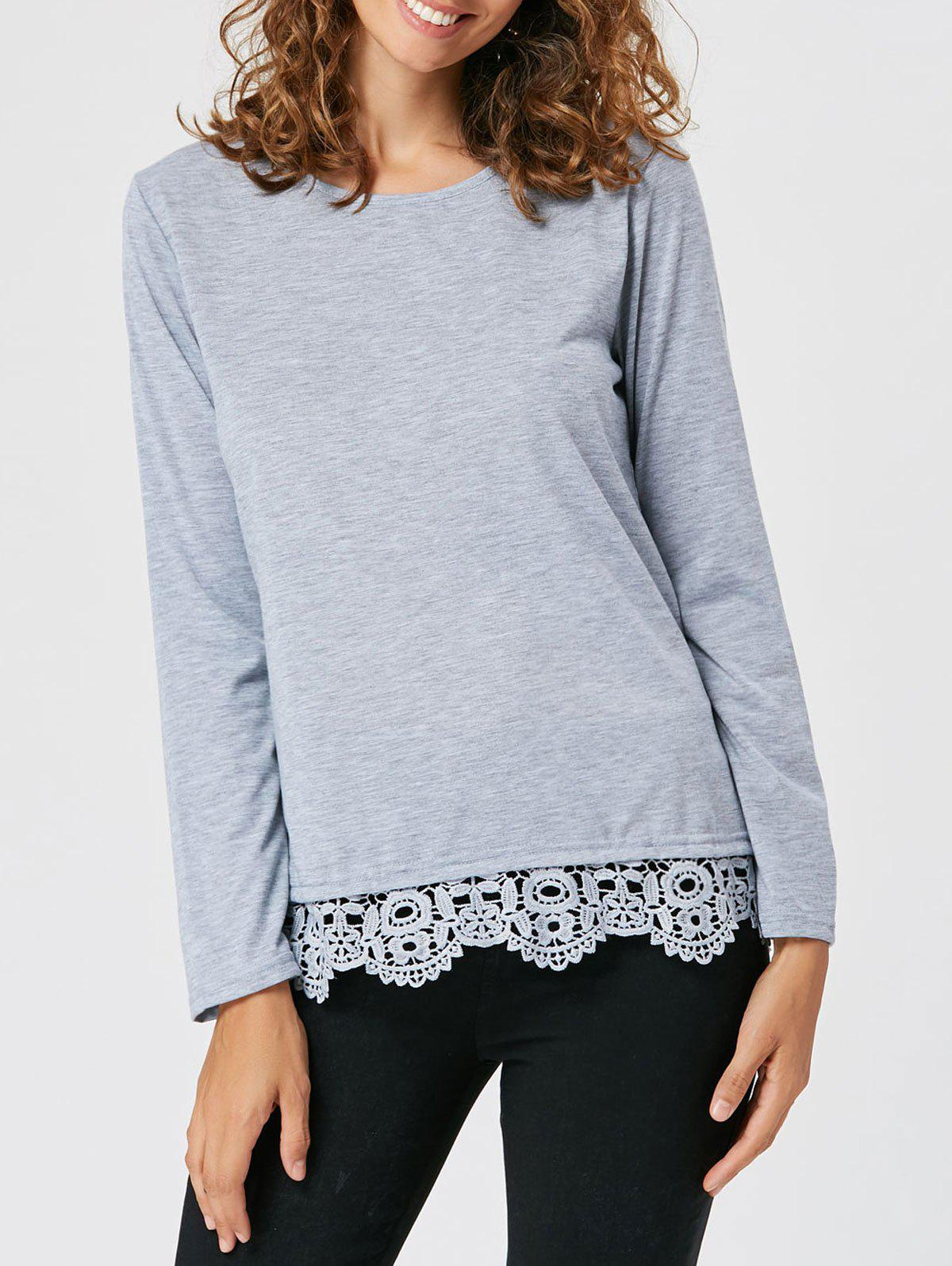 Long Sleeve Lace Insert Tunic T-shirt - GRAY XL