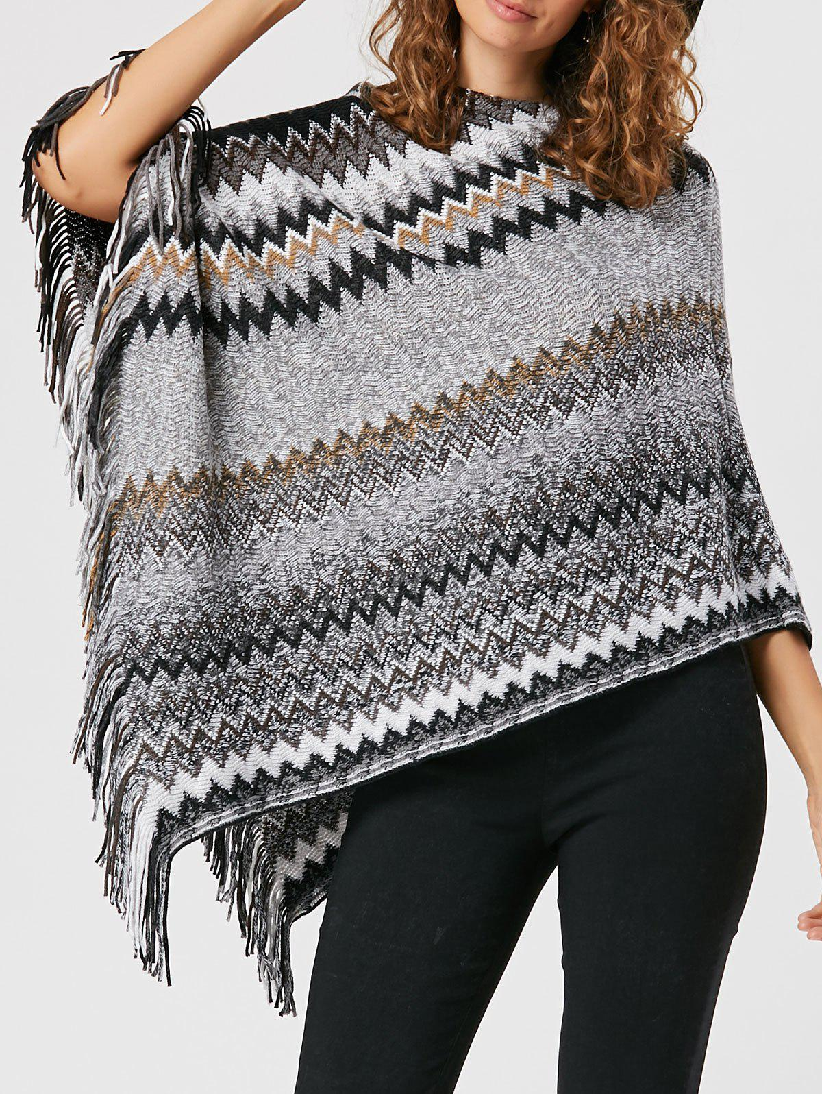 Tassel Asymmetric Knit Cape - [