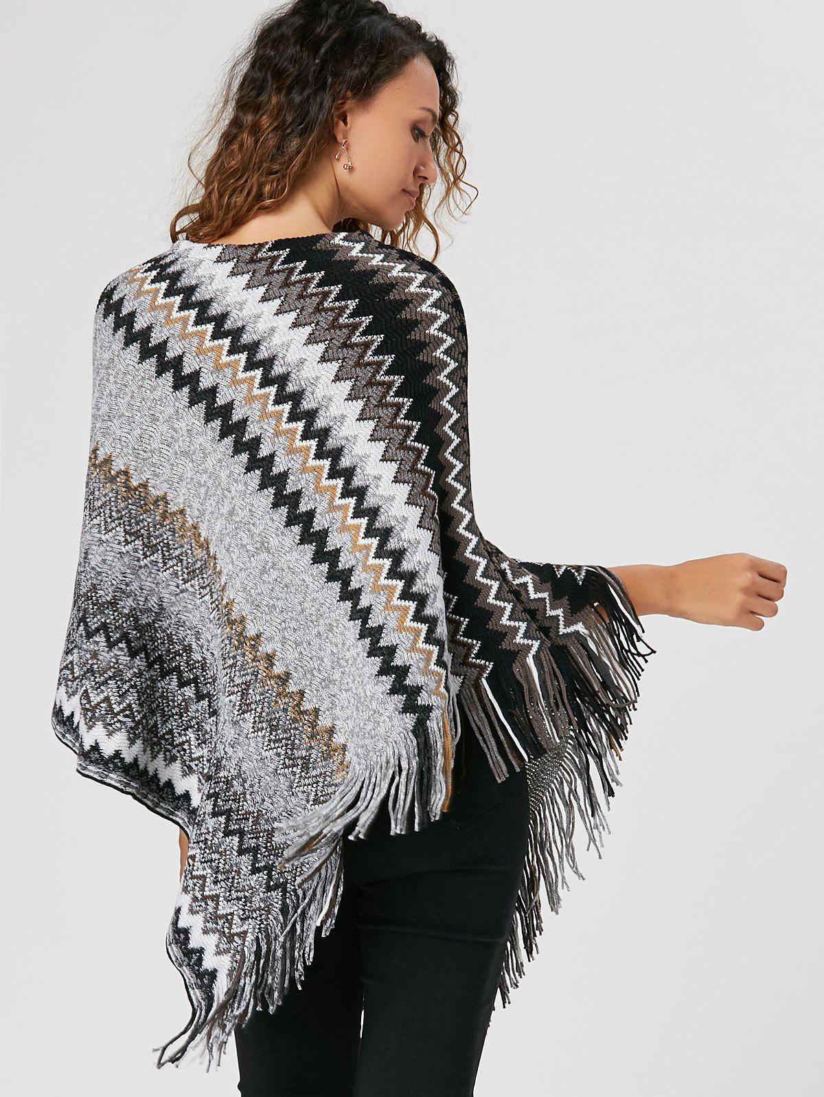 Tassel Asymmetric Knit Cape - BLACK ONE SIZE