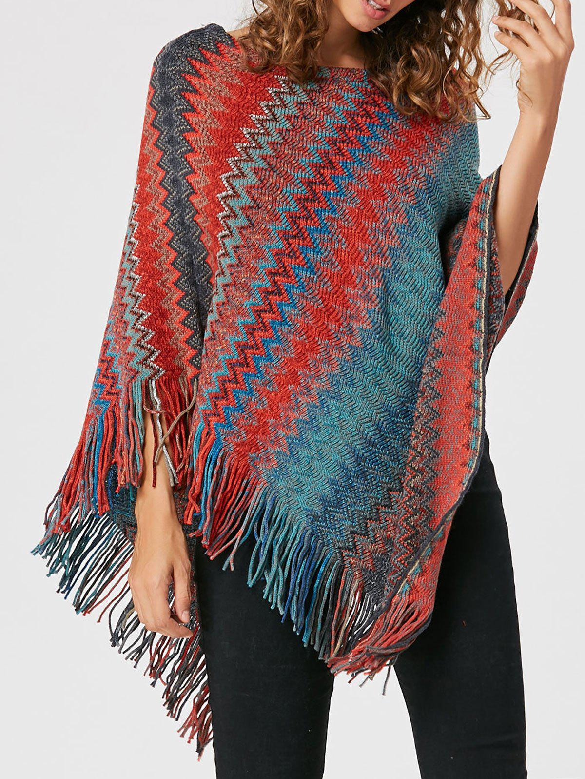 Tassel Asymmetric Knit Cape - Rouge ONE SIZE