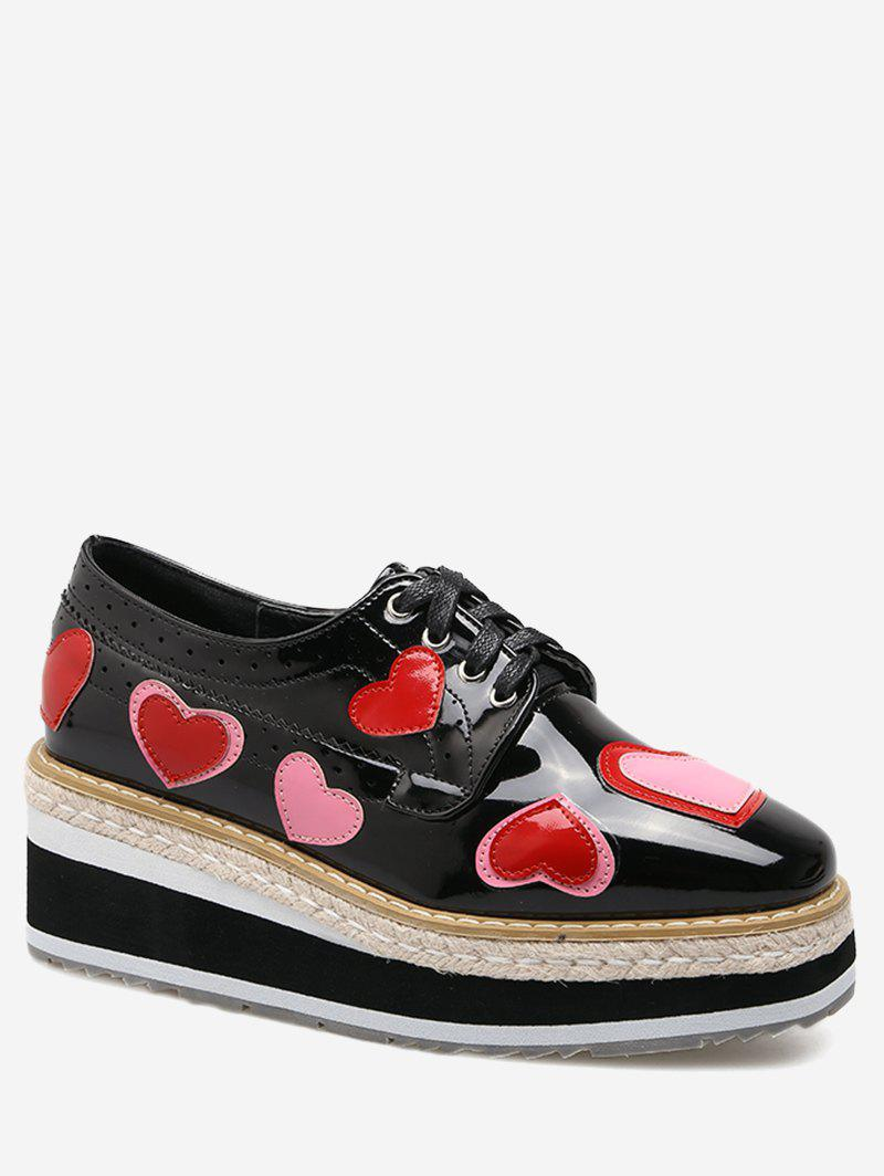 Heart Hollow Out Tie Up Wedge Shoes - Noir 37