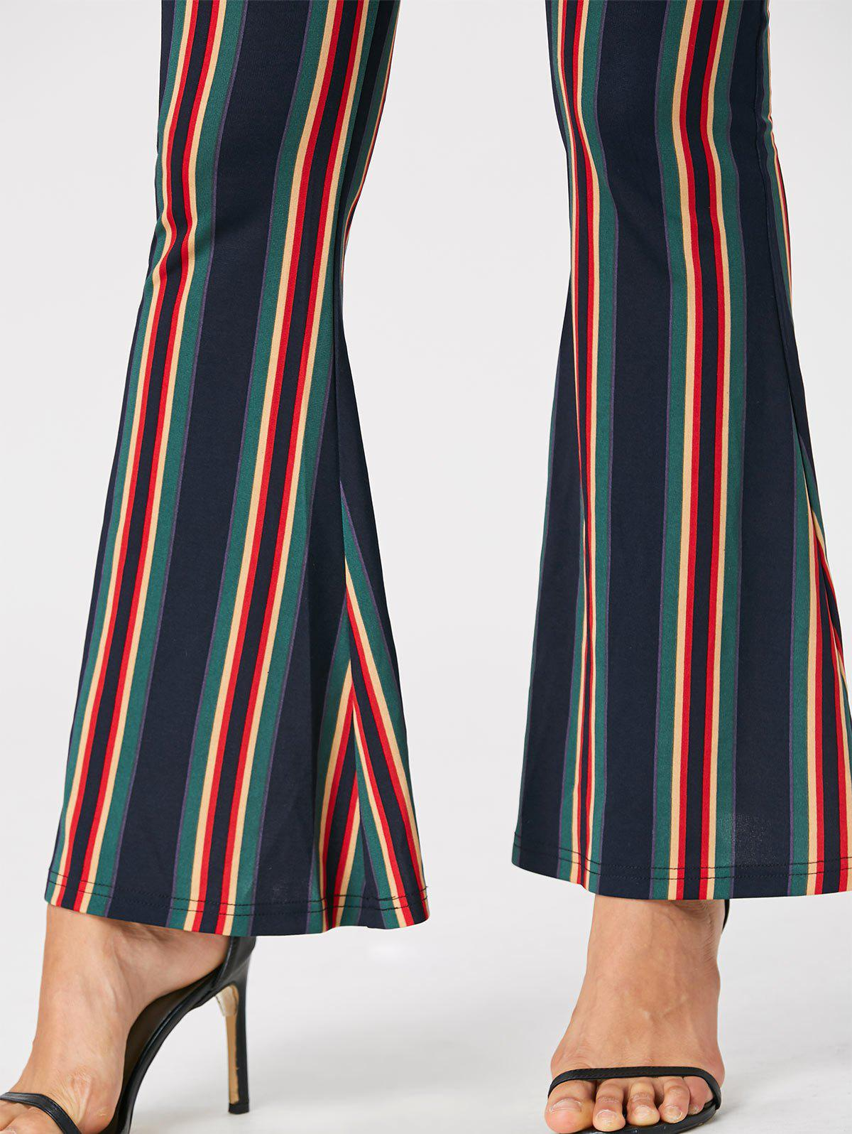 Striped Flare Pants - COLORMIX S