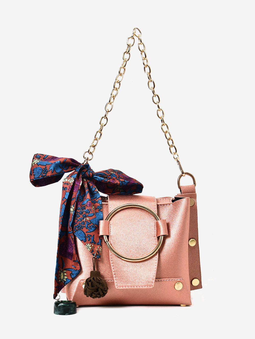 Metal Ring Scarf Shoulder Bag - PINK