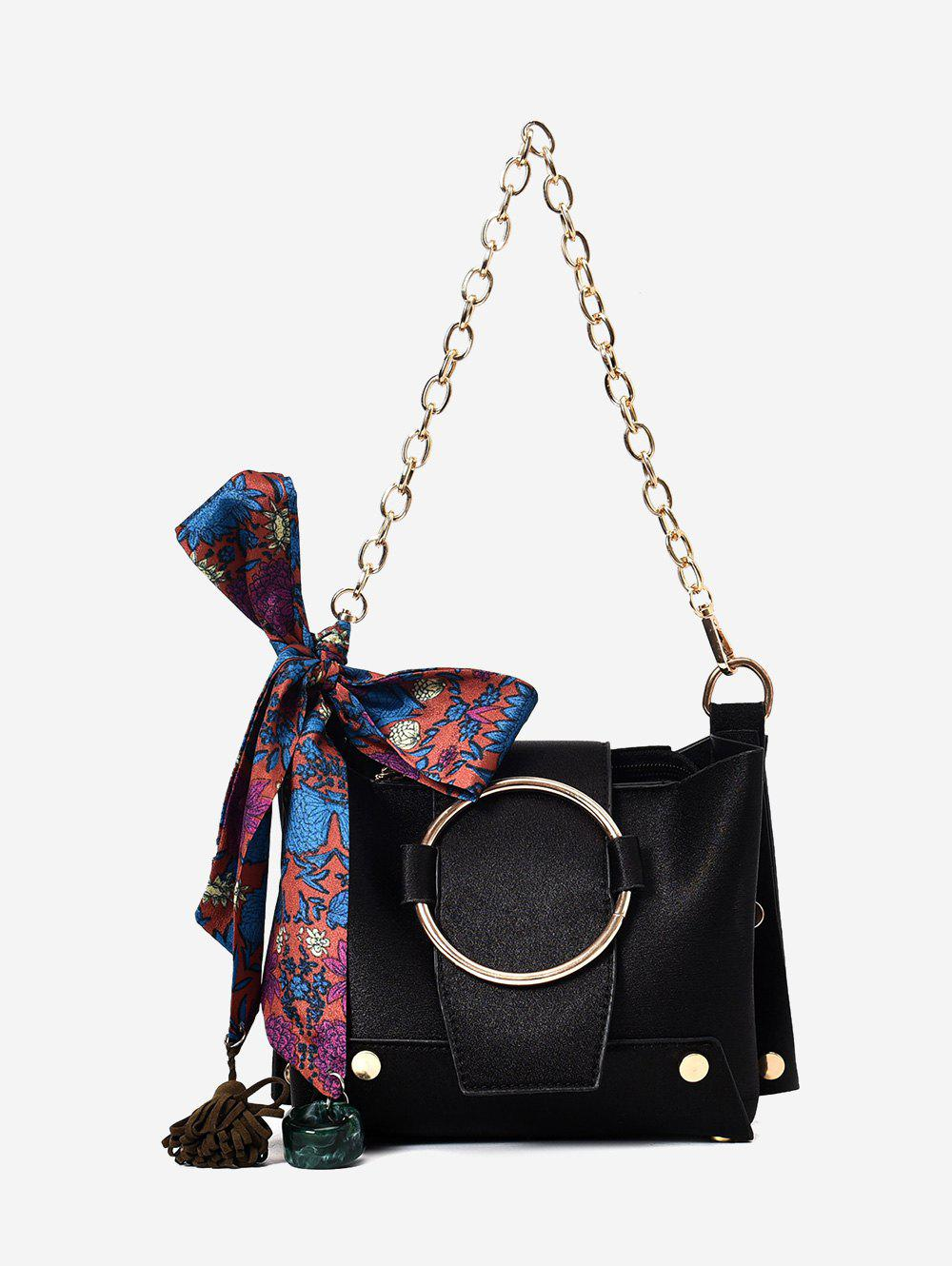 Metal Ring Scarf Shoulder Bag - BLACK