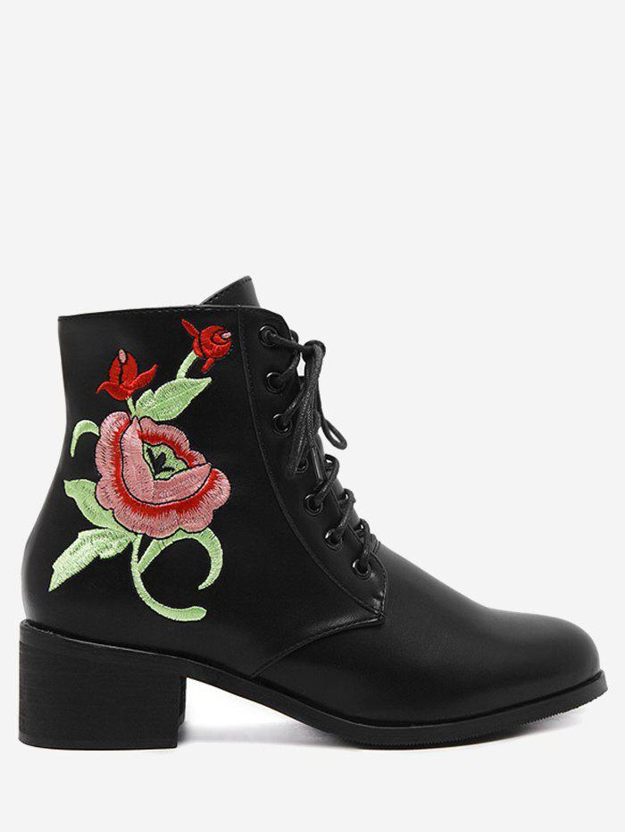Tie Up Embroidery Ankle Boots - BLACK 37