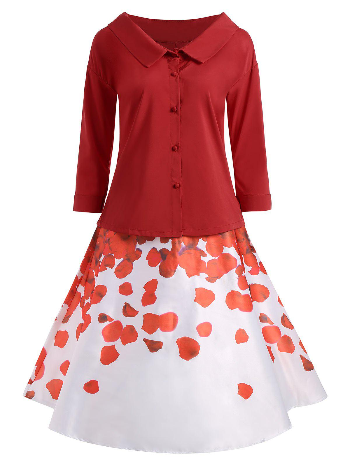 Button Up Blouse with Printed Skirt - RED L